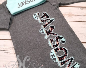 Baby Boy Coming Home Outfit - Newborn Sleeper - Baby Boy Name Gown - Aztec Baby Clothes - Unique Baby Shower Gift - Custom Baby Outfit