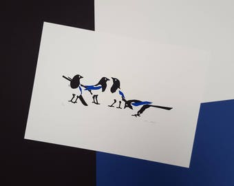 """Magpie """"Four for a Boy"""" Screenprint - Hand Printed, Limited Run - New Baby, Baby Shower, Christening or Naming Day Gift - Nursery Decor Art"""