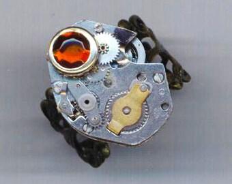 Steampunk Ring.Vintage Watch Movement .Halloween. Brass Filigree Blank. Industrial VICTORIAN Gothic - Unforgettable by enchantedbeas on Etsy
