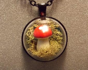 Toadstool Terrarium Pendant Necklace