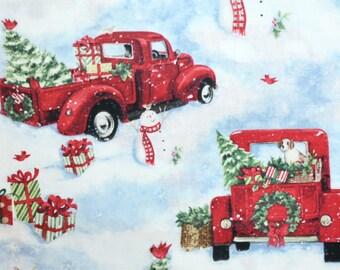 Christmas pickup truck dog bandana slides over the collar