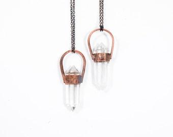 Quartz crystal necklace | Electroformed crystal necklace | Polished crystal necklace | Quartz crystal jewelry