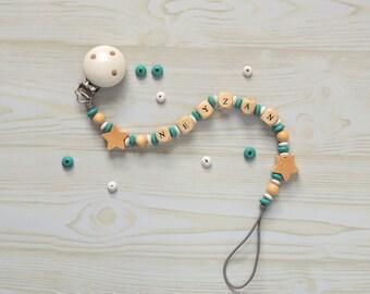 Chupetero con caja personalizada - Chupetero de madera antibabas - Regalo personalizado para recién nacido - Regalo para bebés