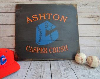 Casper Crush Baseball - Custom Baseball Sign - Baseball Name Sign- Baseball Team Sign