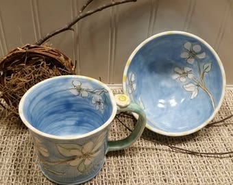 Blue Pear Blossom Sweet Mornings Breakfast set by Sweetpea Cottage Pottery use hot or cold
