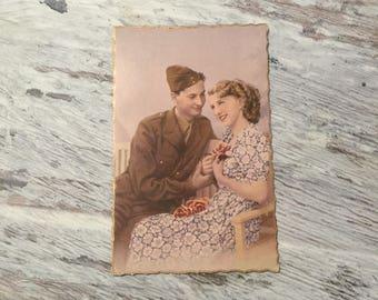 Vintage Postcard, Romantic French Postcard, Soldier Postcard, French Vintage Postcard, Vintage Couple Postcard, Vintage Romance Postcards