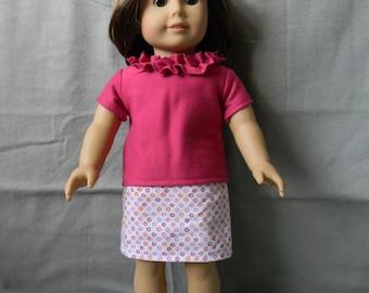 American Girl Doll Skirt and Ruffled Neck Shirt