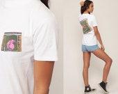 Quiksilver T Shirt Surfer Shirt 90s Tee Retro Tshirt Surf Shirt STORM Vintage Graphic Print Small