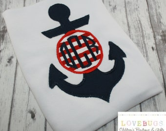Custom Boys Anchor with Monogram Shirt ~ Embroidered, Monogrammed, Applique