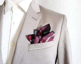 Red burgundy and grey pocket square with tartan cloth, groom handkerchief, lines handkerchief, Scottish fabric, wedding accessories
