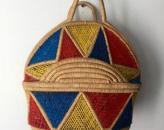 Vintage LARGE Multicolor Basket Bag