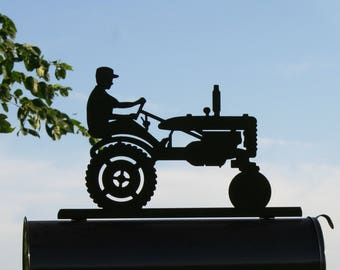 Tractor and Driver Mailbox Topper, Metal Tractor Mailbox Top, farm tractor sign, vintage tractor sign, tractor mailbox, Farm Mailbox, farmer