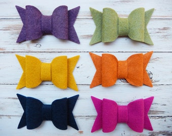 LARGE Chunky Wool Felt Bows - Spice of Life Collection - Set of 12 - NEW Sizes Available