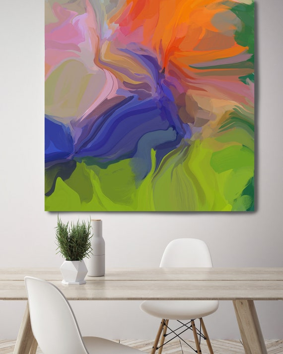 """The Energy, Art Abstract Print on Canvas up to 50"""", Green Orange Blue Pink Abstract Canvas Art Print, Sunny City by Irena Orlov"""
