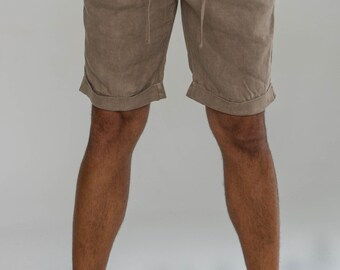 100% Linen Short with  Cuffs and Drawstring in Brown by Claudio Milano- Style 1211