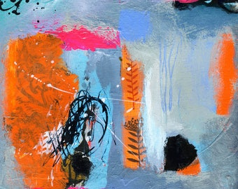 "Abstract Painting on Paper With Blue and Orange Textured Design - 8"" x 8"""