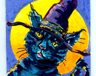 Cat painting, acrylic painting, original painting, folk art, halloween cat, cat and moon, aceo size painting,