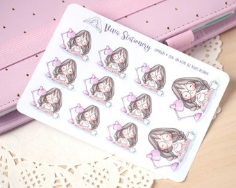 Kawaii Girl Student Decorative Stickers ~Violet~ For your Life Planner, Diary, Journal, Scrapbook...