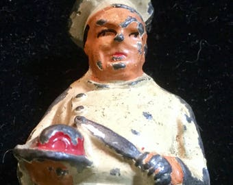 Barclay Manoil Chef Lead Figure Vintage Cast Iron Figure Butcher Cook Toy Mid Century Action Figure Collectible Culinary