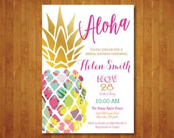 Pineapple Bridal Shower Invitation. Aloha Invitation. Tropical Party Invitation. Summer Fruit Party Invite. Luau Hawaiian. Printable Digital