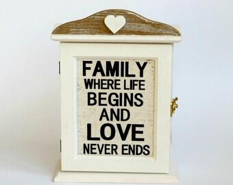 House Key Holder, Wall Key Holder, Wall Hooks, White Love Sign, Wooden Keys Holder, Wooden Box, Wall Decor, Home Decor, New House Gift