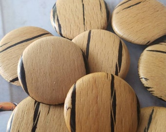 Vintage Buttons -10 matching celluloid 1940's-50's wood grain design (mar 659 18)