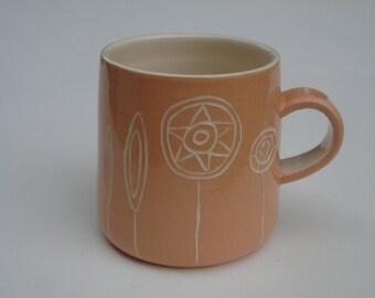 Sgraffito mug seed head design
