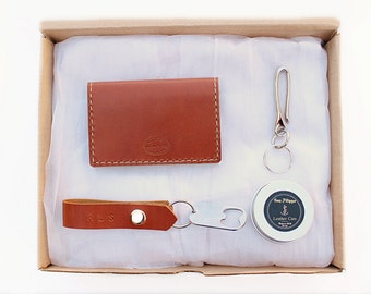 Men's Leather Wallet Gift Set, Leather Card Wallet, Hook Key Chain, Bottle Opener Key Chain, Leather Care, Matching Set, Personalized