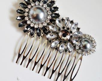 Grey Rhinestone Pearl Vintage Inspired Crystal Hair Comb