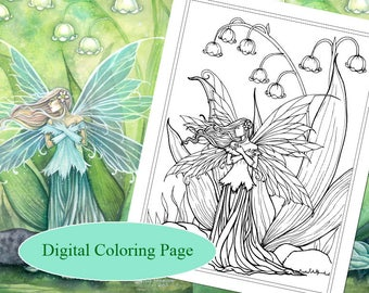 Lily of the valley etsy lily of the valley digital stamp printable fairy art molly harrison fantasy art digistamp coloring page digi stamp altavistaventures Image collections