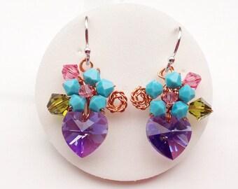Purple Turquoise heart earrings - Dangle earrings - Small earrings - granddaughter gifts - women earrings
