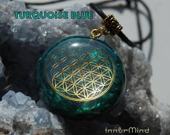 Personalized Orgonite® Orgone pendant Flower of Life Custom Made FOL - Choose your OWN main Gemstone and Color Customized  Unique Unisex