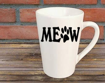 Meow Cat Paw Mug Coffee Cup Gift Home Decor Kitchen Bar Gift for Her Him Any Color Personalized Custom Jenuine Crafts