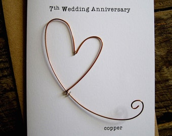 7th Wedding Anniversary Designer Keepsake Card COPPER Wire Heart 7 Years Traditional Gift. Husband Wife Understated Size A6: 15x10.5cm