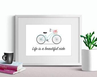 Gift for Her - Bicycle Art - Art Print - Girlfriend Gift - Gift for Cyclist - Vintage Bike Wall Art - Printable Art - Baby Shower Gift