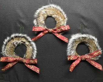 Squirrel tail Christmas ornament set of 3 wreaths