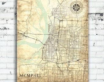 MEMPHIS TN Canvas Print Tennessee tn Vintage map Memphis tn City Vintage Wall Art Print Memphis TN poster retro home design wedding gift