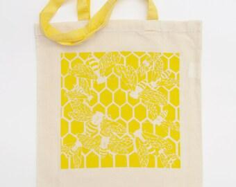 Bee tote bag, Long handle tote bag, Screenprint tote bag, Large shopping bag, Shopping canvas bag, Canvas tote