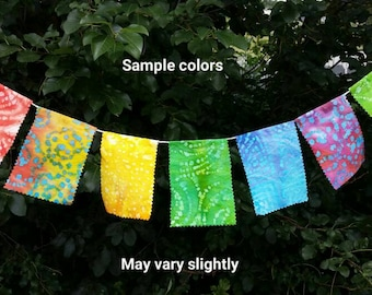 String of Seven Prayer Flags: batik colorful Tibet Buddhist mindful spiritual wishes gift decorative bunting summer yard intentions peace