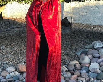 Ready to ship, Red Velvet Hooded Cloak.  Great for Halloween, Comicon, Renaissance, Rituals, Etc.  Size S-XL.  Other Colors Available.