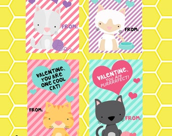 Cat Inspired Valentines- Instant Download
