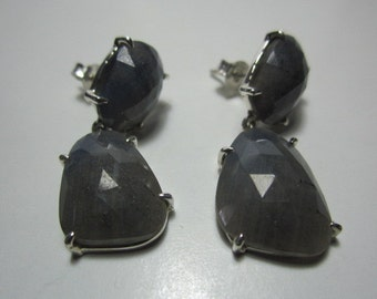 natural sapphire  cut facet slice earrings , sapphire earrings ,WOOW