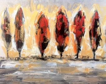 "AUTUMN TREES - Original Oil Painting - 36"" x 48"" Mounted"