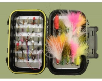 45 fishing flies BOXED SET assortment. The Perfect Fly Fishing Gift