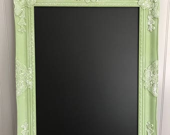 White and Green Chalk Board, Shabby Chic Chalk Board