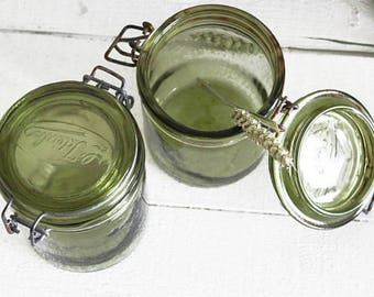 Pot vert Canning, récipients en verre vert, verts pots, Antique Canning bocal, bocal en verre vert avec couvercle, E780 pots verre Vintage