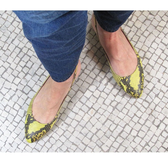 flat leather flat toe pointed Yellow slingback pointy Leather Women flats ballerinas Fred python pointy women python wqIv1