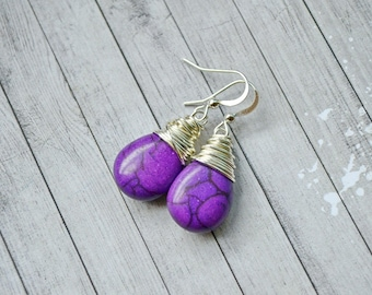 Violet Purple Turquoise Earrings, Bright Vibrant Purple Teardrops, Wire Wrapped Briolette Jewelry, Faux Turquoise Drops