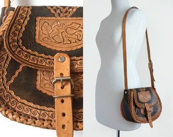 70's Hippie Hand Tooled Tan & Dark Brown Leather Vintage Shoulder Bag Purse / Bohemian Festival