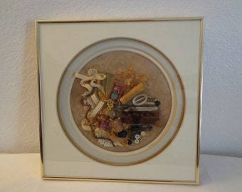 Stunning Vintage Sewing Collage Wall Hanging
